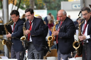 The Saxes Doing Their Thing. Left to Right - Chris Hildebrand, John Clark, Dave Jost and Tom Nutile